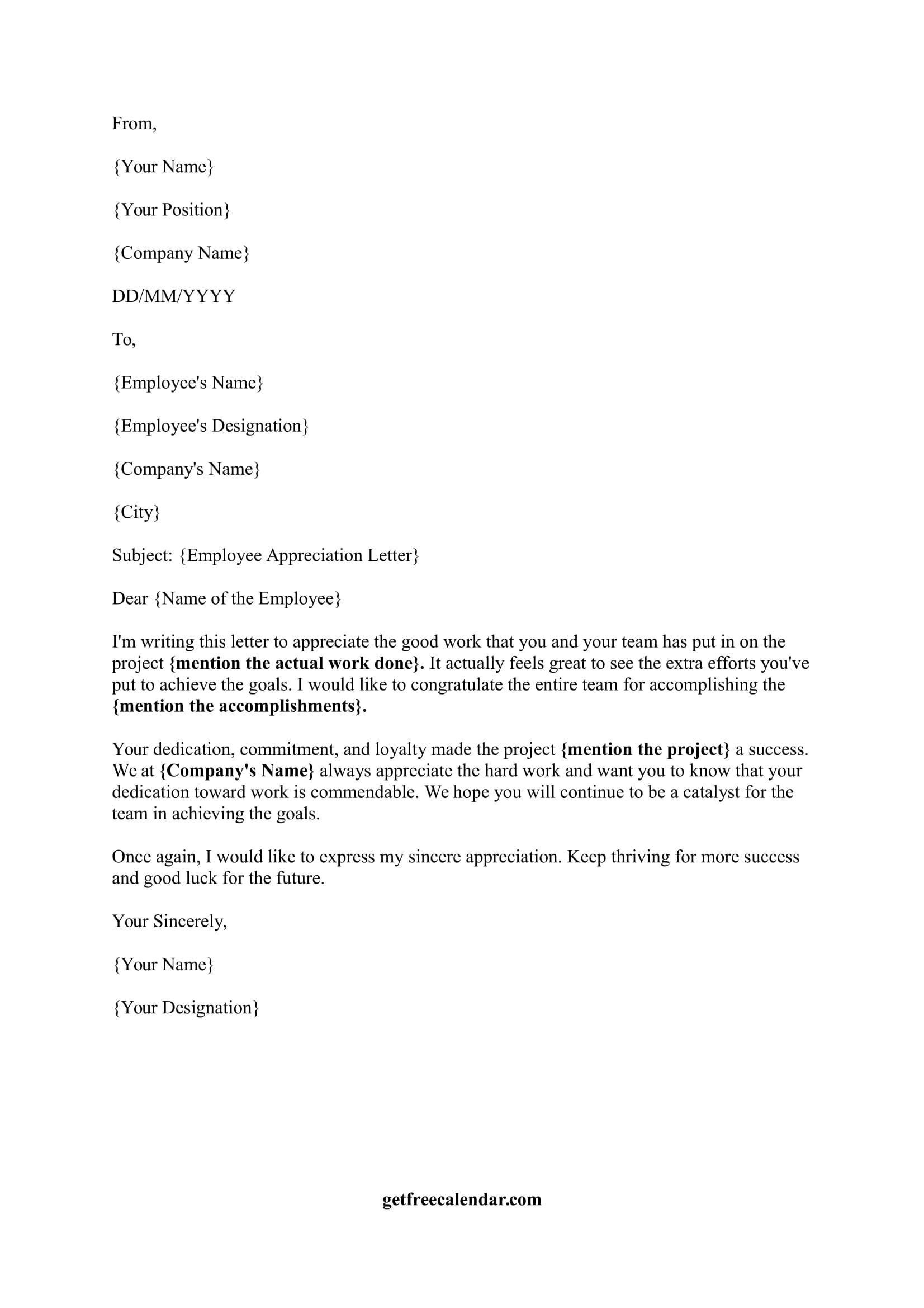 Sample Letter Of Appreciation To Employee from getfreecalendar.com