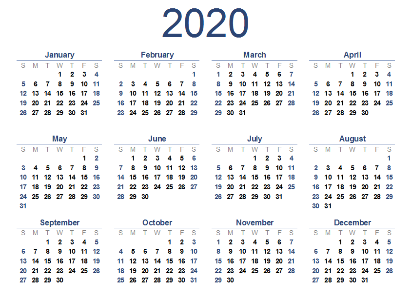 yearly 2020 printable calendar templates