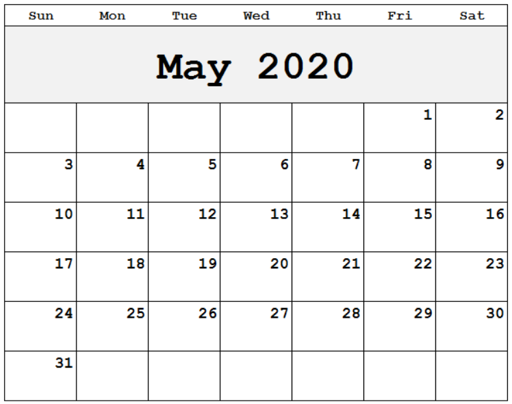 free may 2020 printable calendar templates